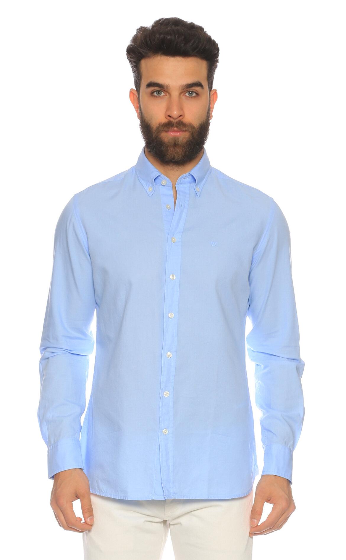 Hackett Düz Renk Mavi Gömlek