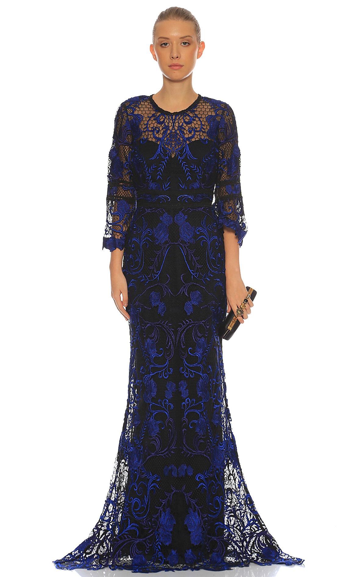 Marchesa Notte-Marchesa Notte Dantel İşlemeli Gece Mavisi Uzun Gece Elbisesi