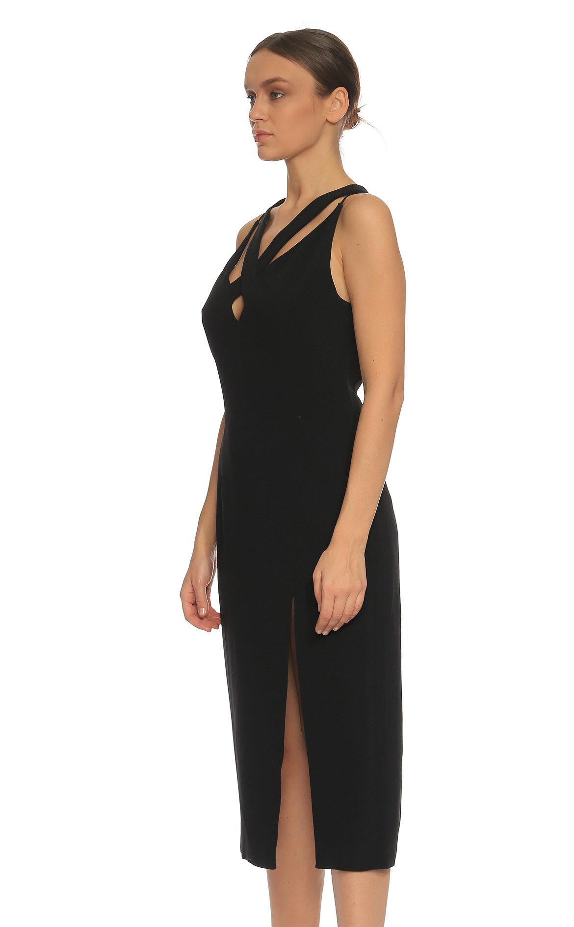 Cushnie et Ochs Yırtmaç Detaylı Siyah Elbise