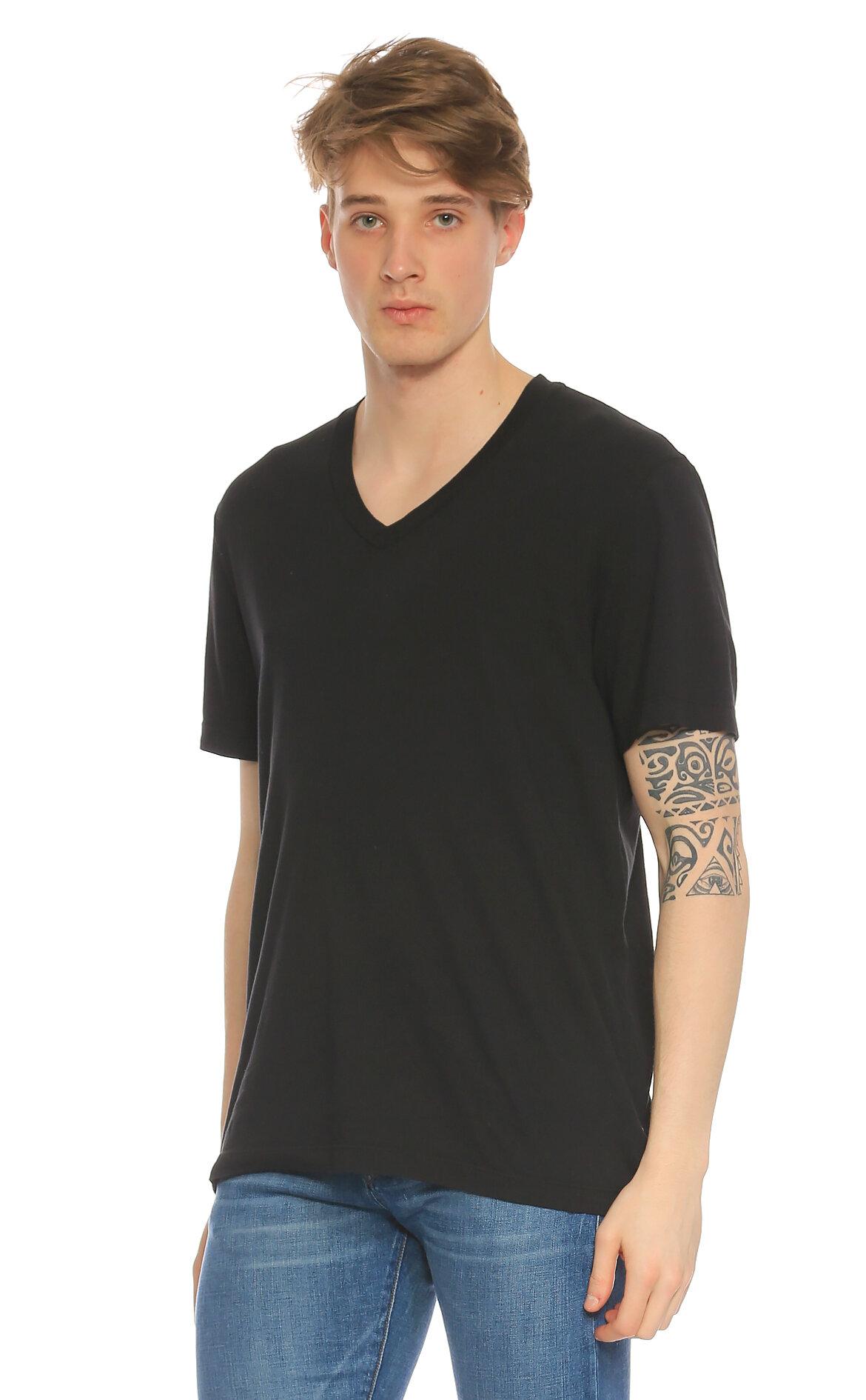 James Perse-James Perse V Yaka Siyah T-Shirt