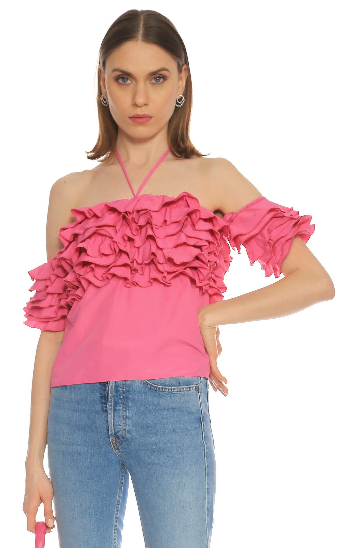 Rosie Assoulin  Straplez Pembe Bluz