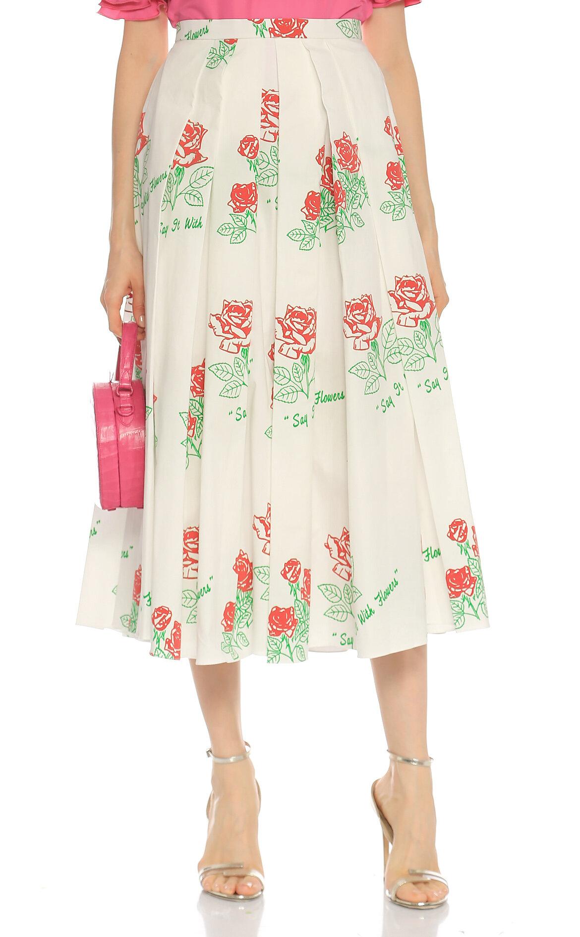Rosie Assoulin Çiçek Desenli Midi Beyaz Etek