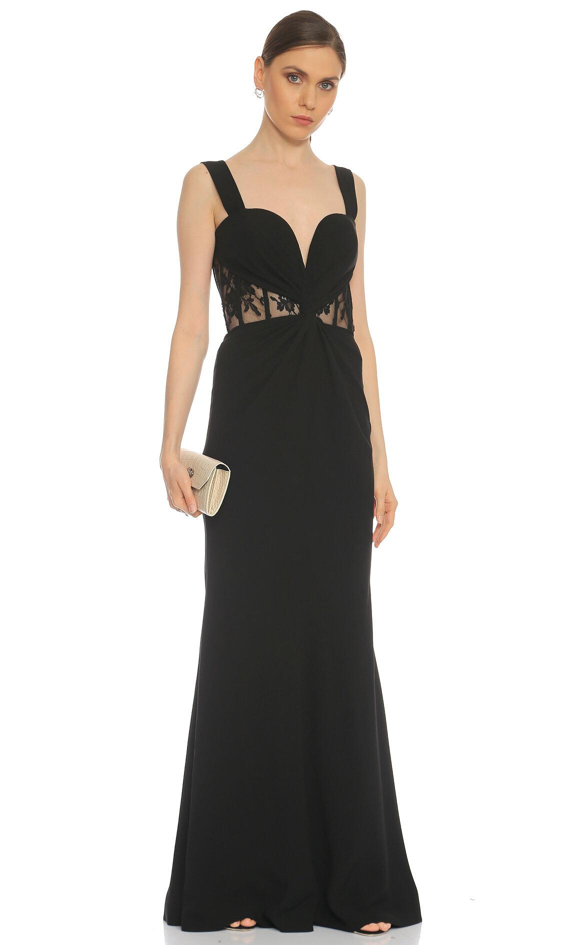 Alexander McQueen  Dantel Detaylı Siyah Gece Elbisesi
