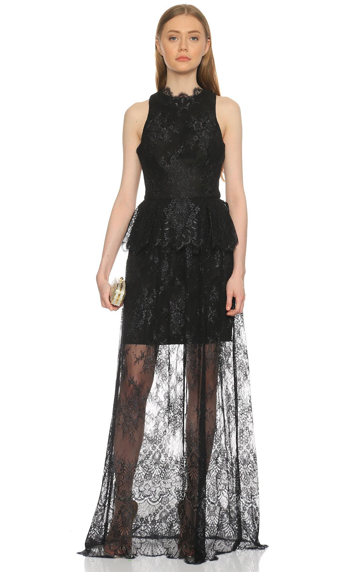 Ml Monique Lhuillier-Ml Monique Lhuillier Dantel Detaylı Siyah Gece Elbisesi