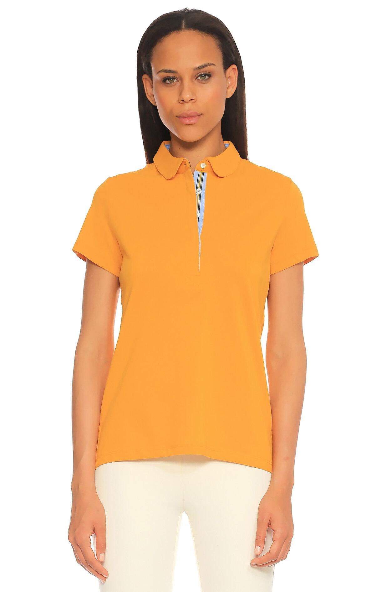 Jodhpur Women-Jodhpur Women Düz Desen Sarı Polo T-Shirt