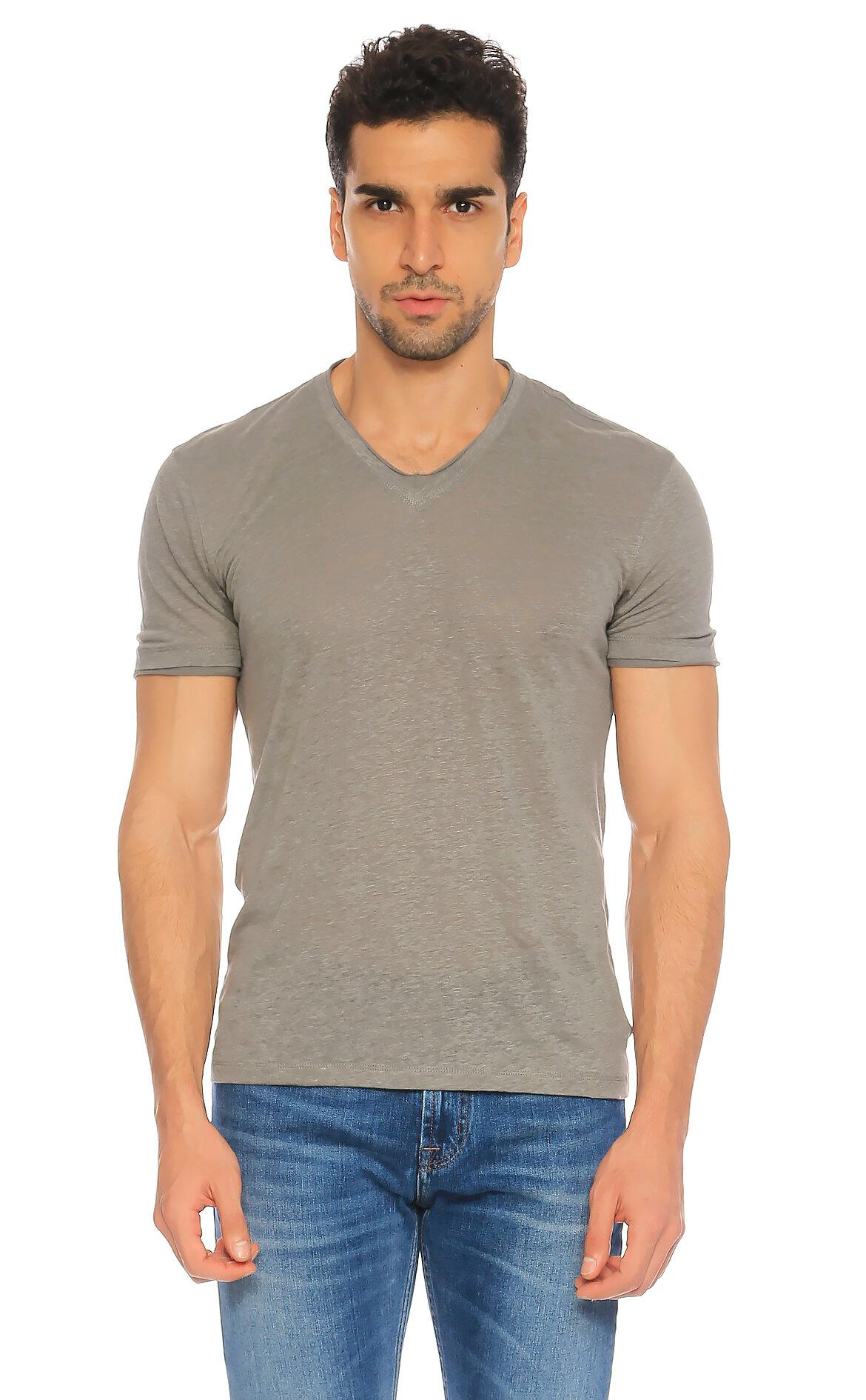 John Varvatos-John Varvatos V Yaka Gri T-Shirt