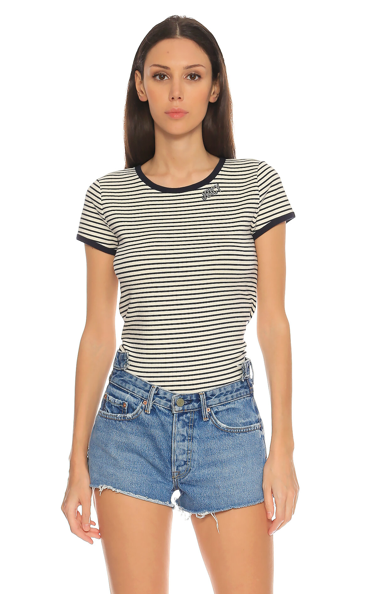 Juicy Couture-Juicy Couture Çizgili Lacivert T-Shirt