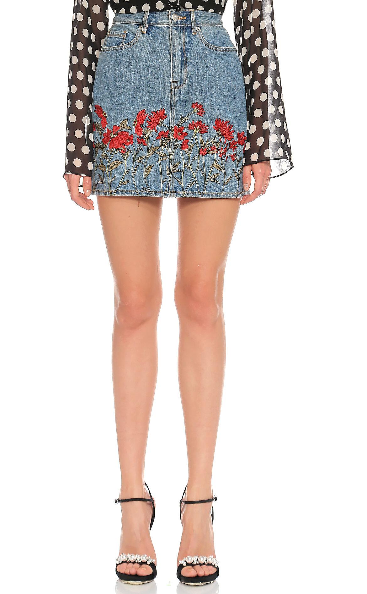 Juicy Couture-Juicy Couture İşleme Detaylı Jean Mavi Etek