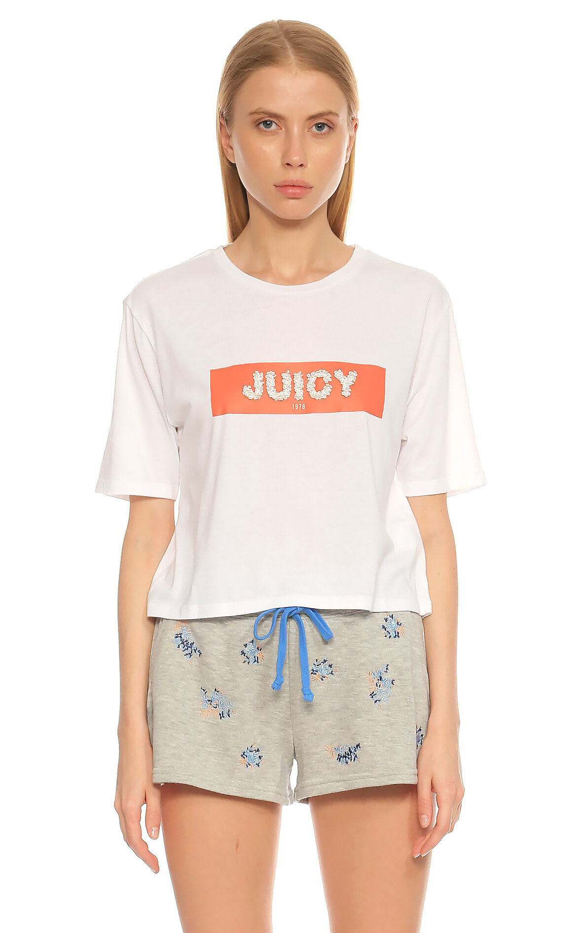Juicy Couture-Juicy Couture Pano Desen Beyaz T-Shirt