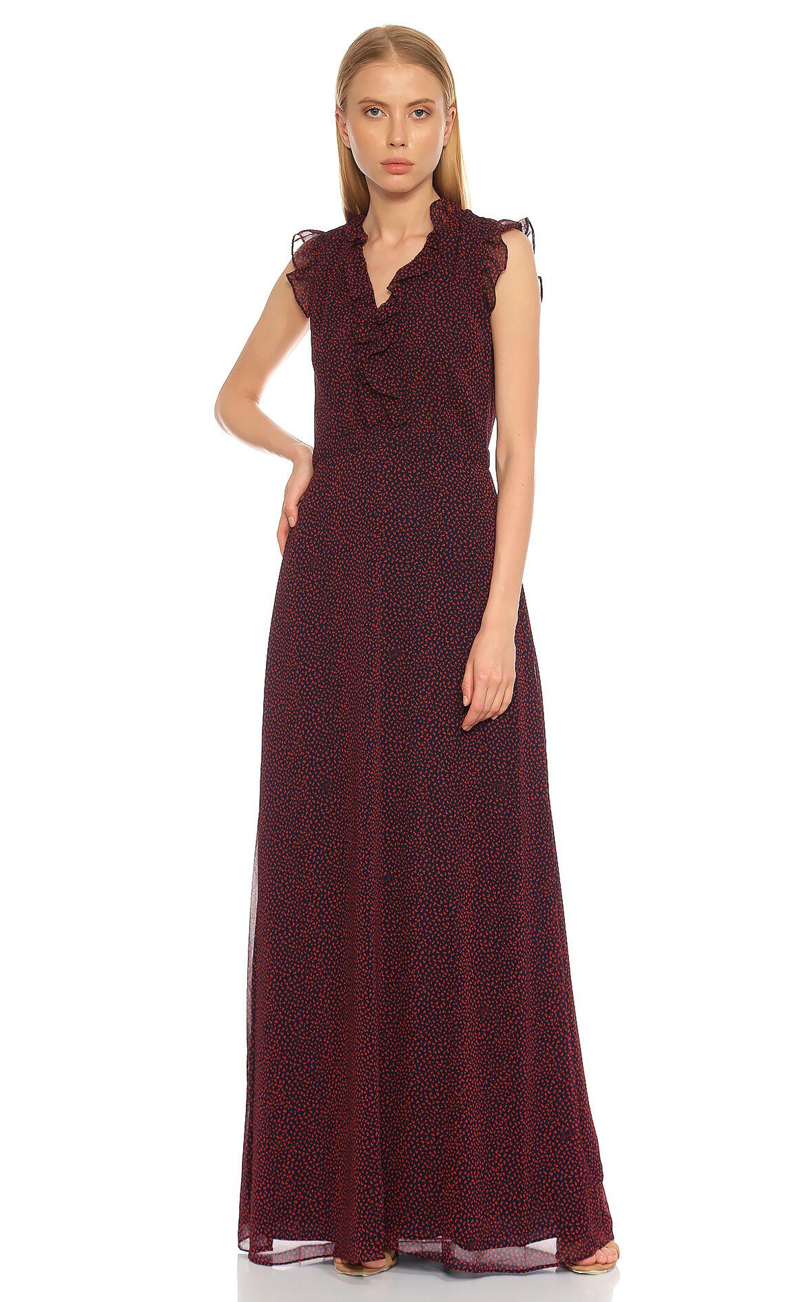 Juicy Couture  V Yaka Fırfır Detaylı Renkli Elbise