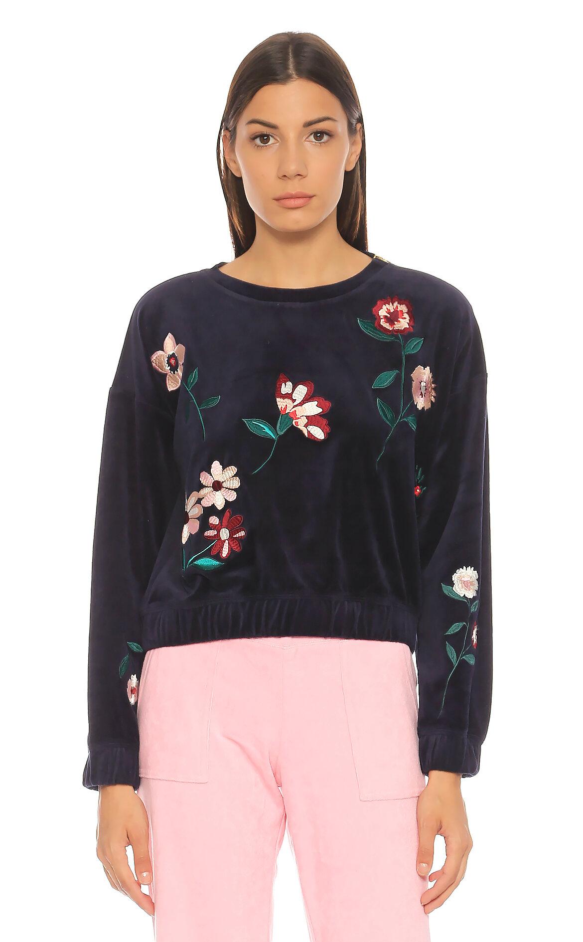 Juicy Couture-juicy Couture Lacivert Çiçek Desenli Sweatshirt