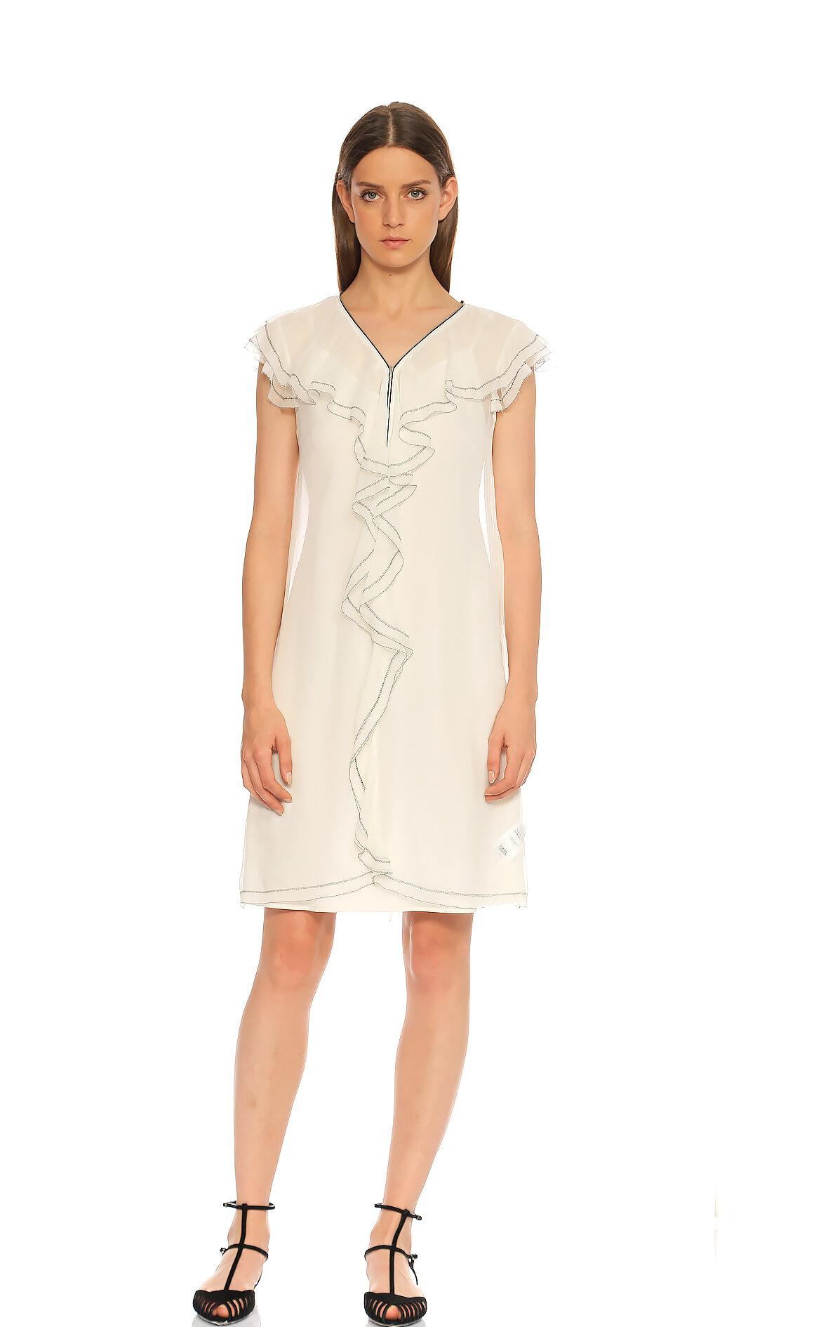 Karl Lagerfeld  Fırfır Detaylı Beyaz Elbise