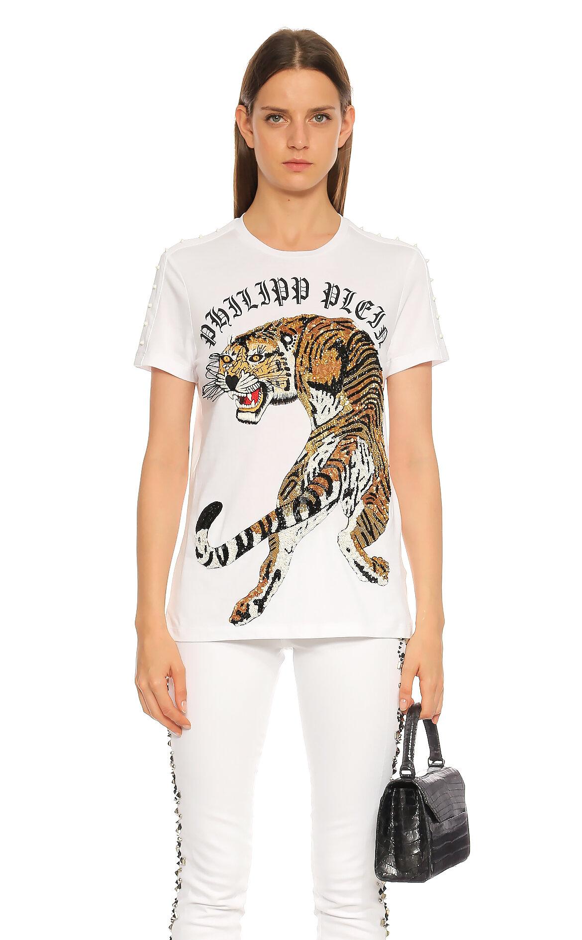 Philipp Plein-Philipp Plein Baskılı Beyaz T-Shirt