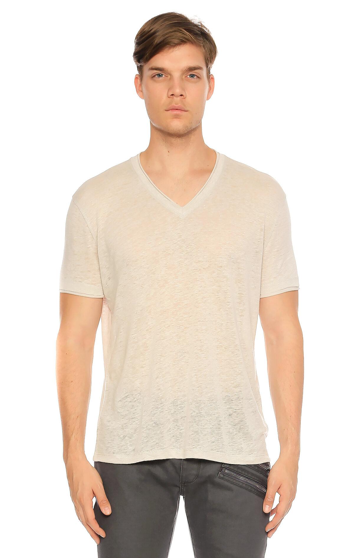 John Varvatos-John Varvatos V Yaka Bej Rengi T-Shirt