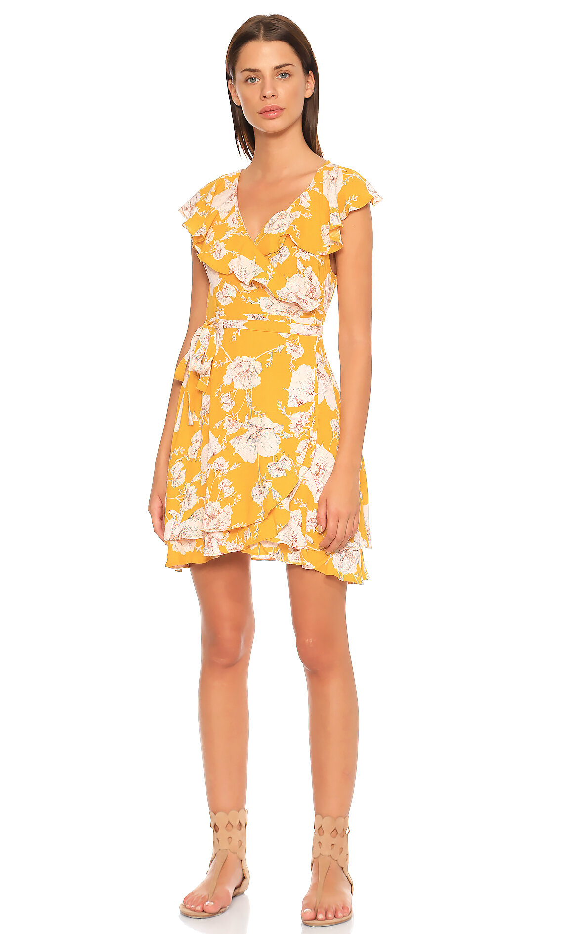 Free People-Free People Çiçek Desenli Sarı Elbise