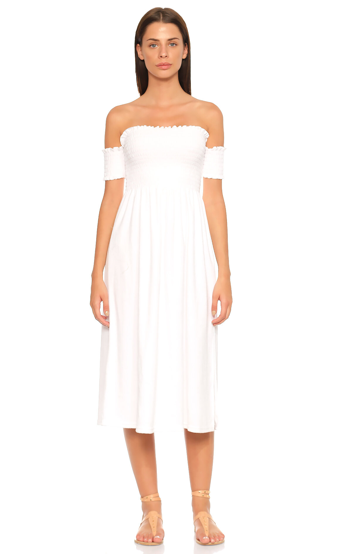 Juicy Couture-Juicy Couture Kayık Yaka Midi Beyaz Elbise