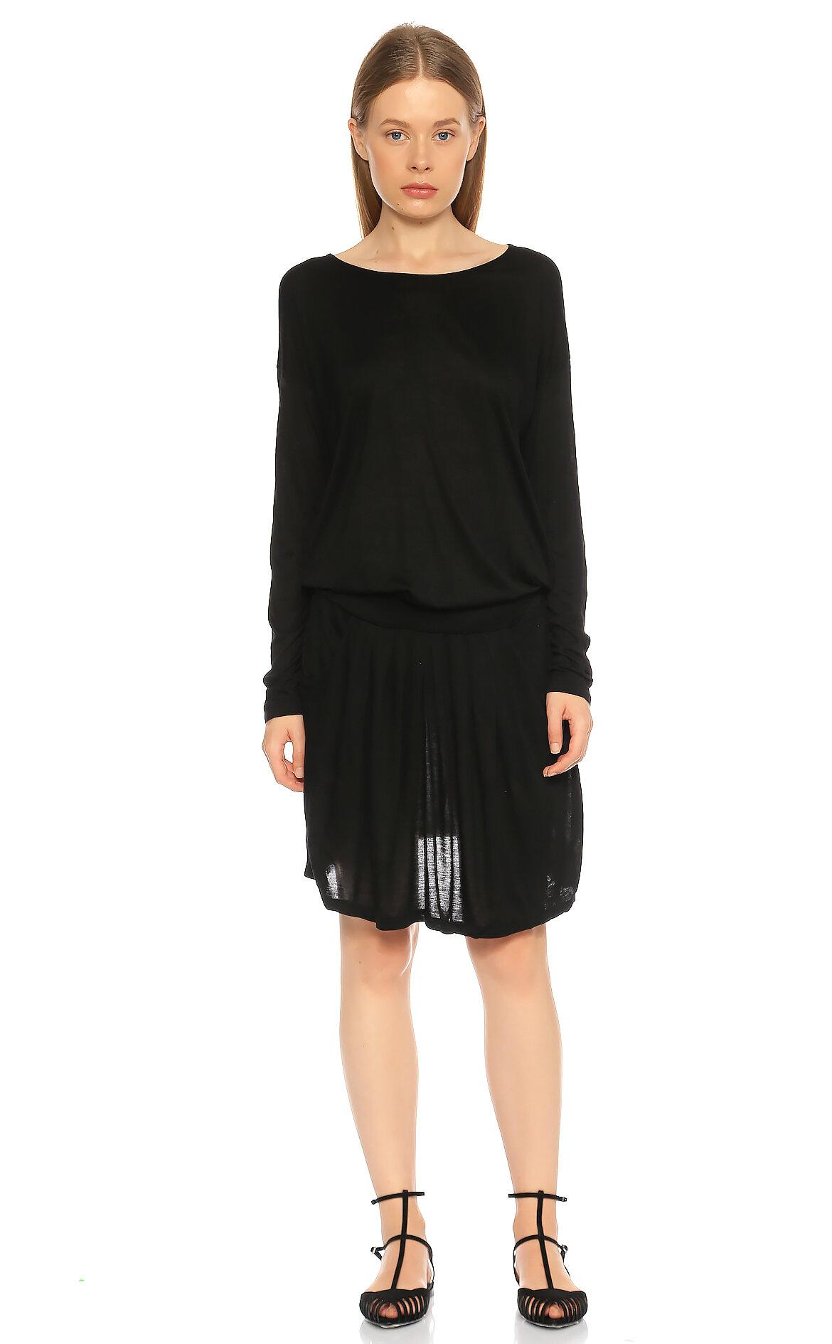 DKNY-Dkny Uzun Kollu Dizüstü Siyah Elbise