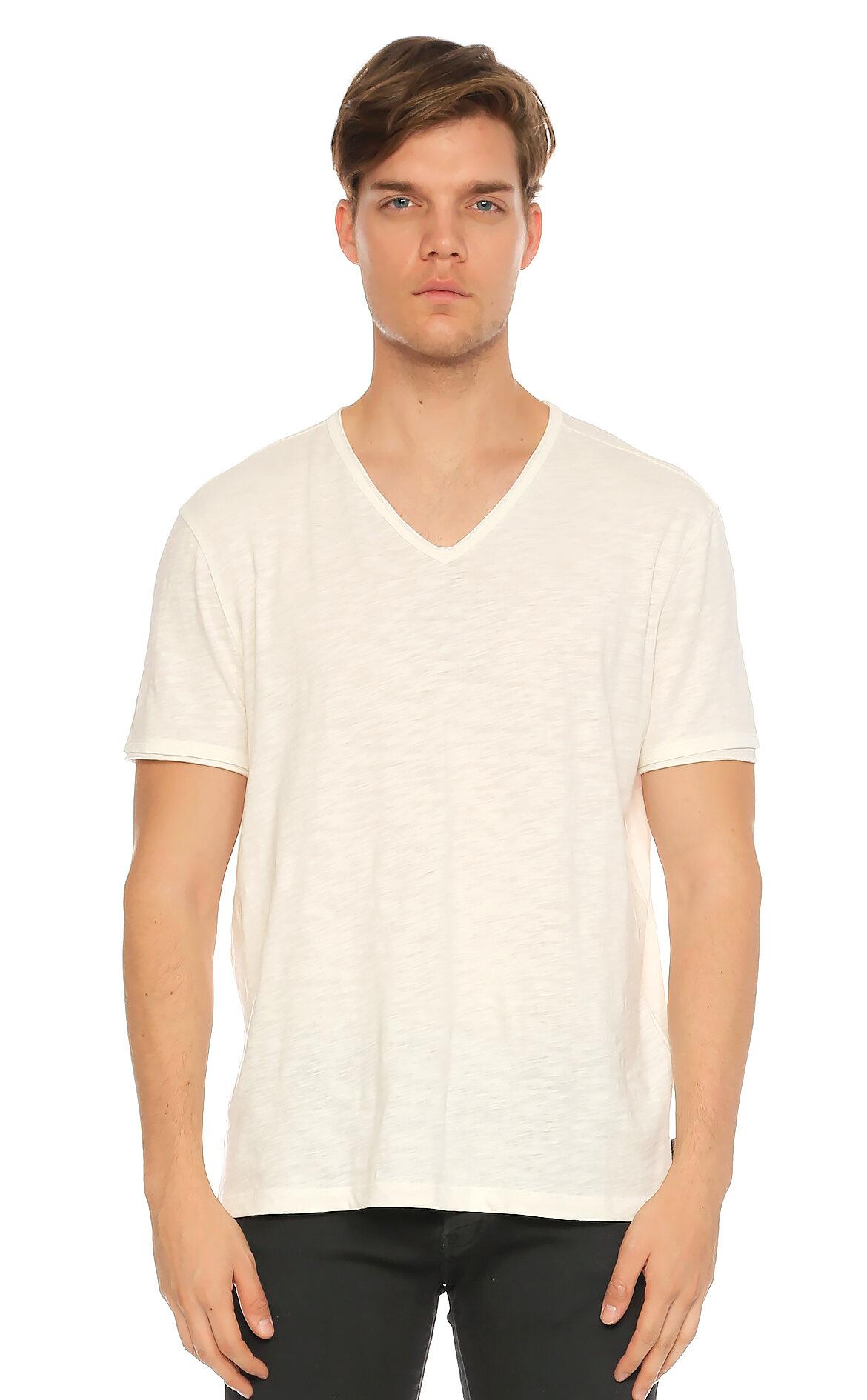 John Varvatos USA-John Varvatos Usa V Yaka Beyaz T-Shirt
