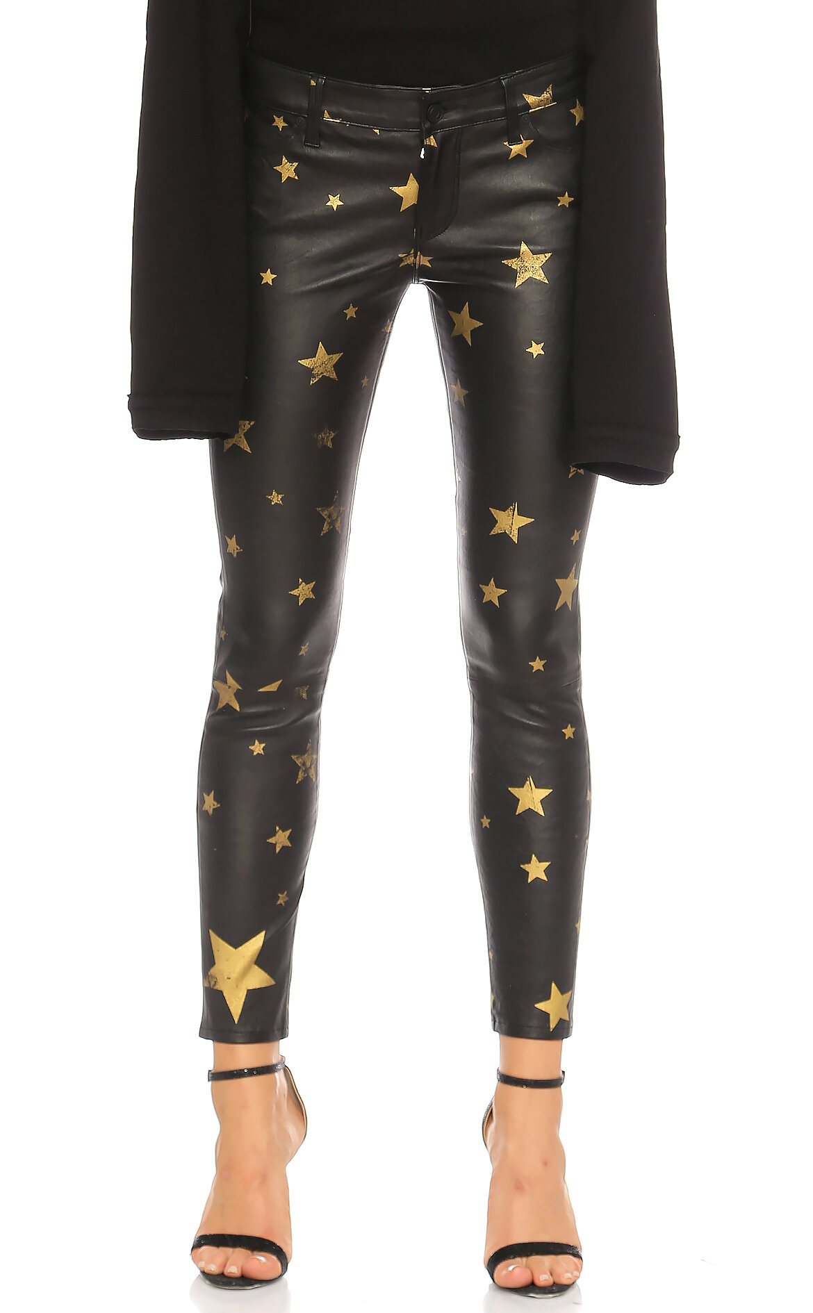 Rta Deri Yıldız Baskılı Gold Pantolon