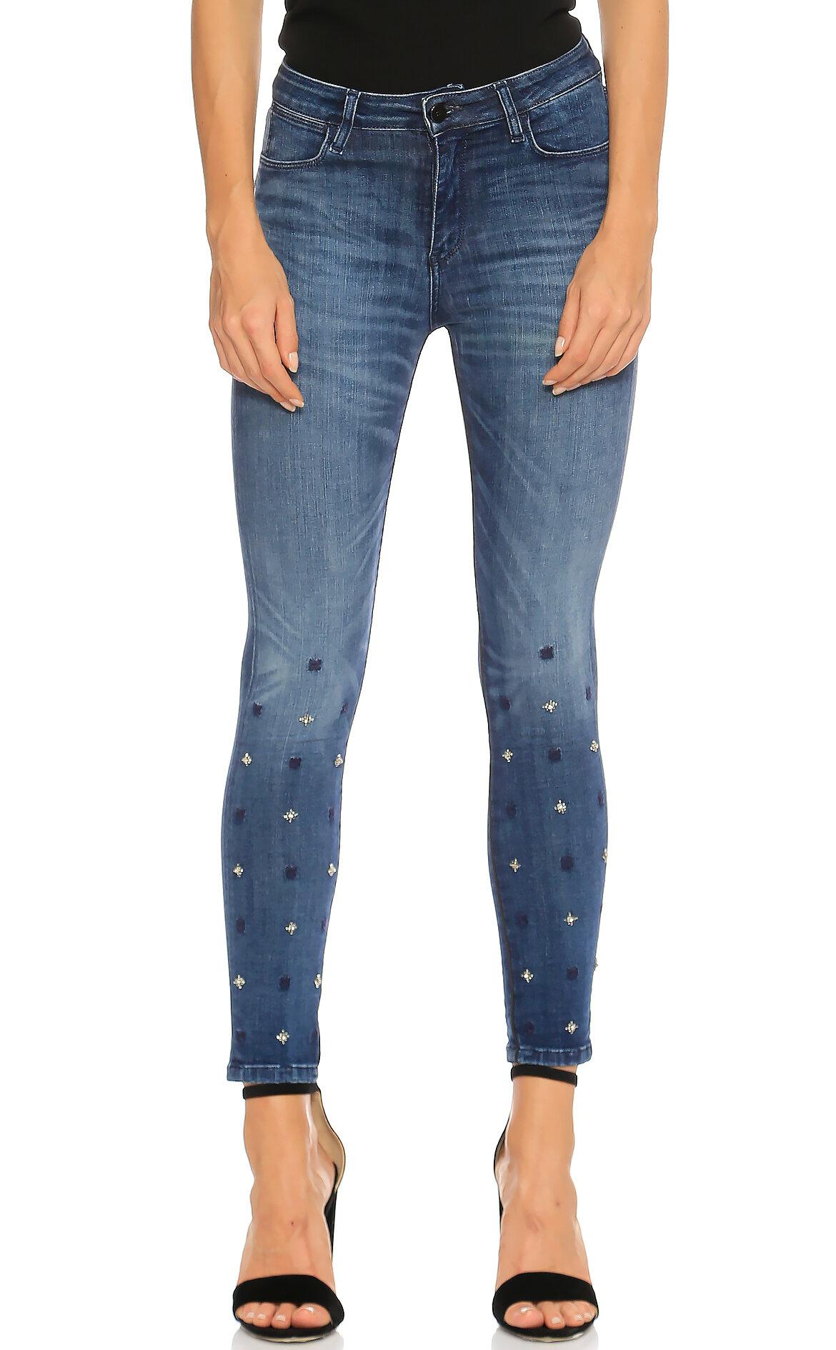 Brocken Bow-Brocken Bow İşleme Detaylı Skinny Jean Mavi Pantolon