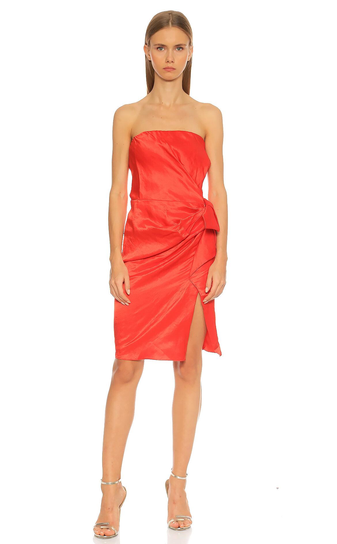 Lanvin-Lanvin Straplez Kırmızı Elbise