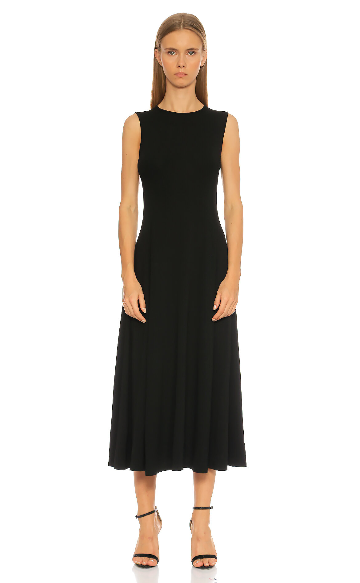 Michael Kors Collection-Michael Kors Collection Kolsuz Midi Siyah Elbise