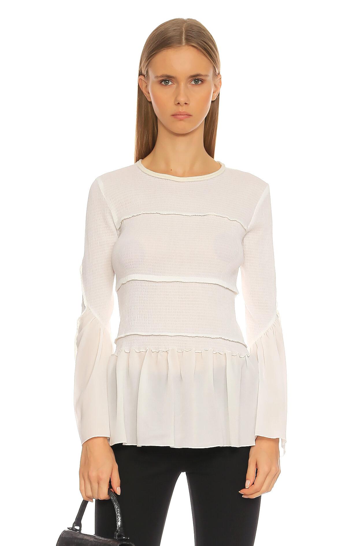 3.1 Phillip Lim-3.1 Phillip Lim Uzun Kollu Beyaz Bluz