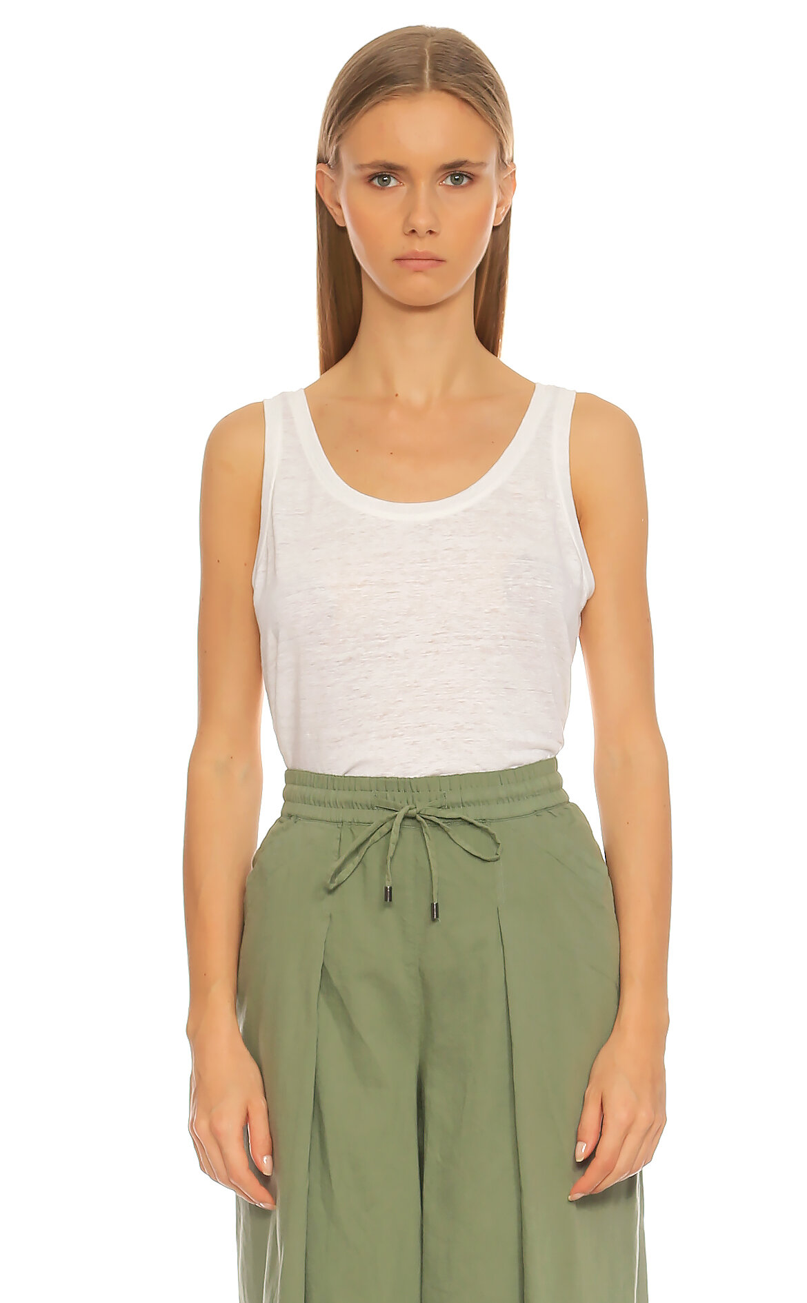 Eileen Fisher-Eileen Fisher Kolsuz Beyaz T-Shirt