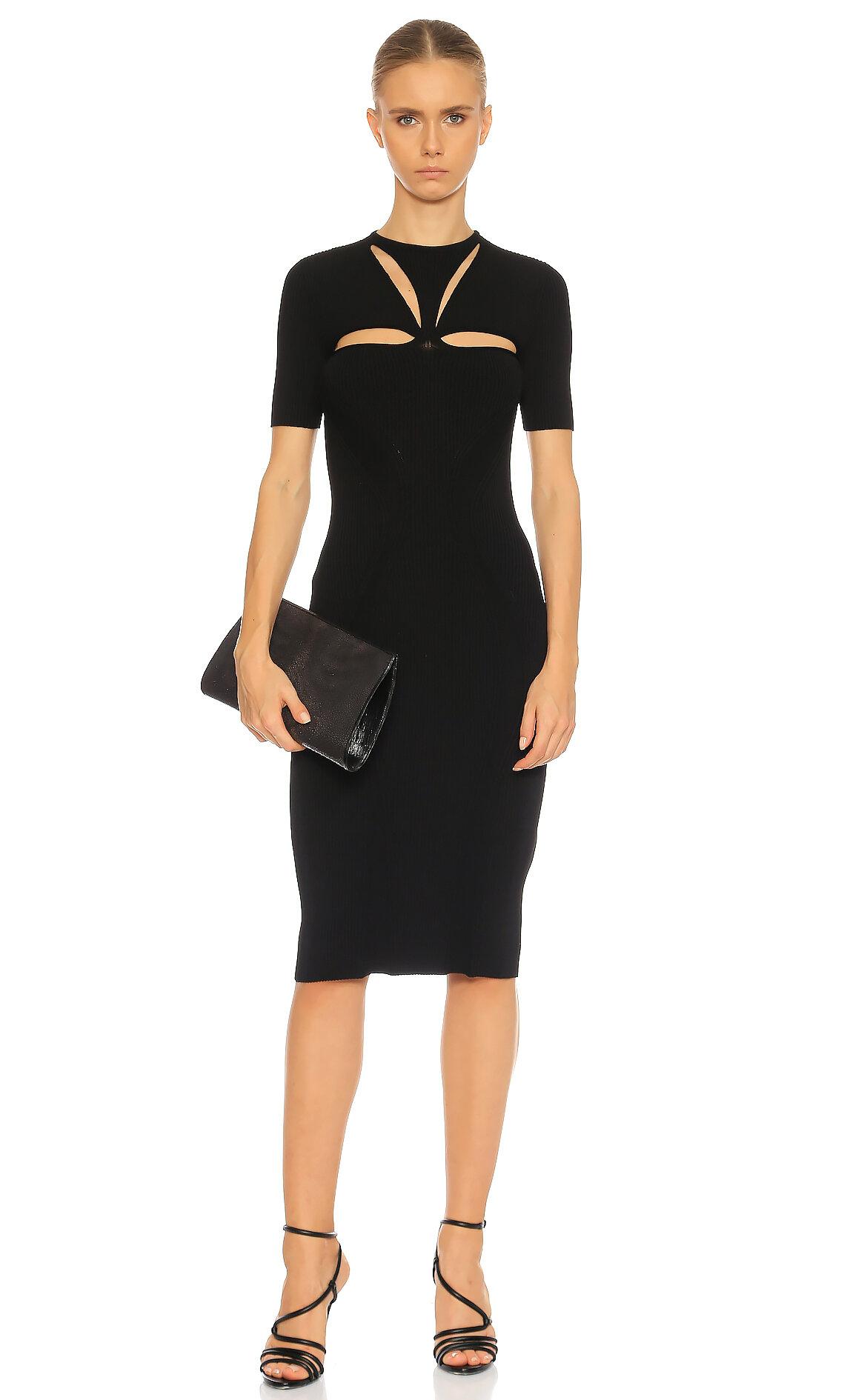 Alexander McQueen  Siyah Dekolteli Elbise
