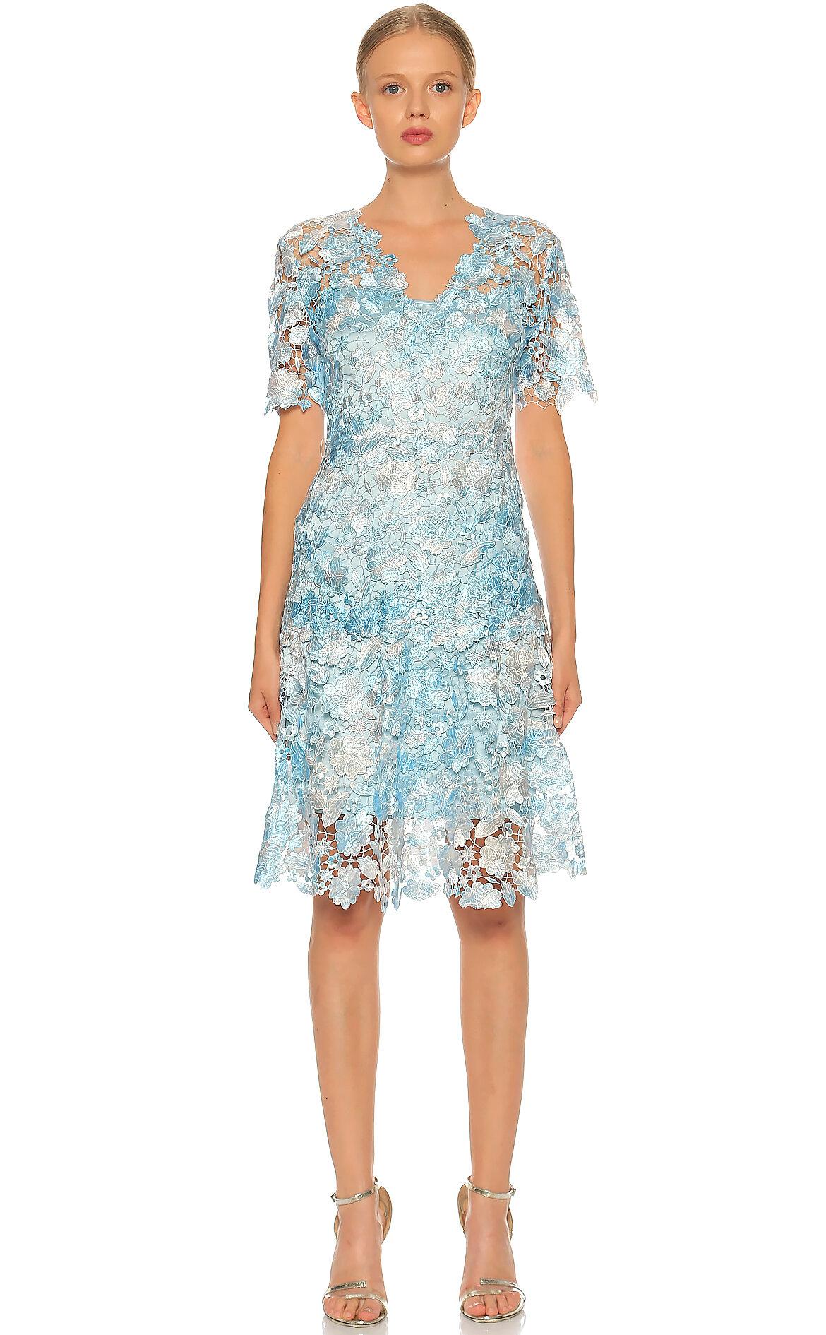 Elie Tahari-Elie Tahari Dantel Detaylı Mavi Elbise