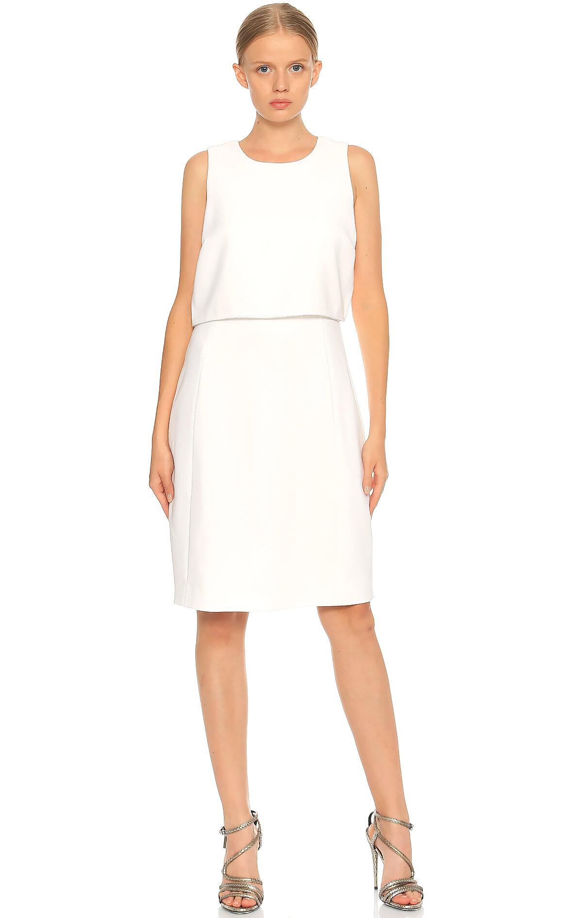 Elie Tahari-Elie Tahari Kolsuz Beyaz Elbise