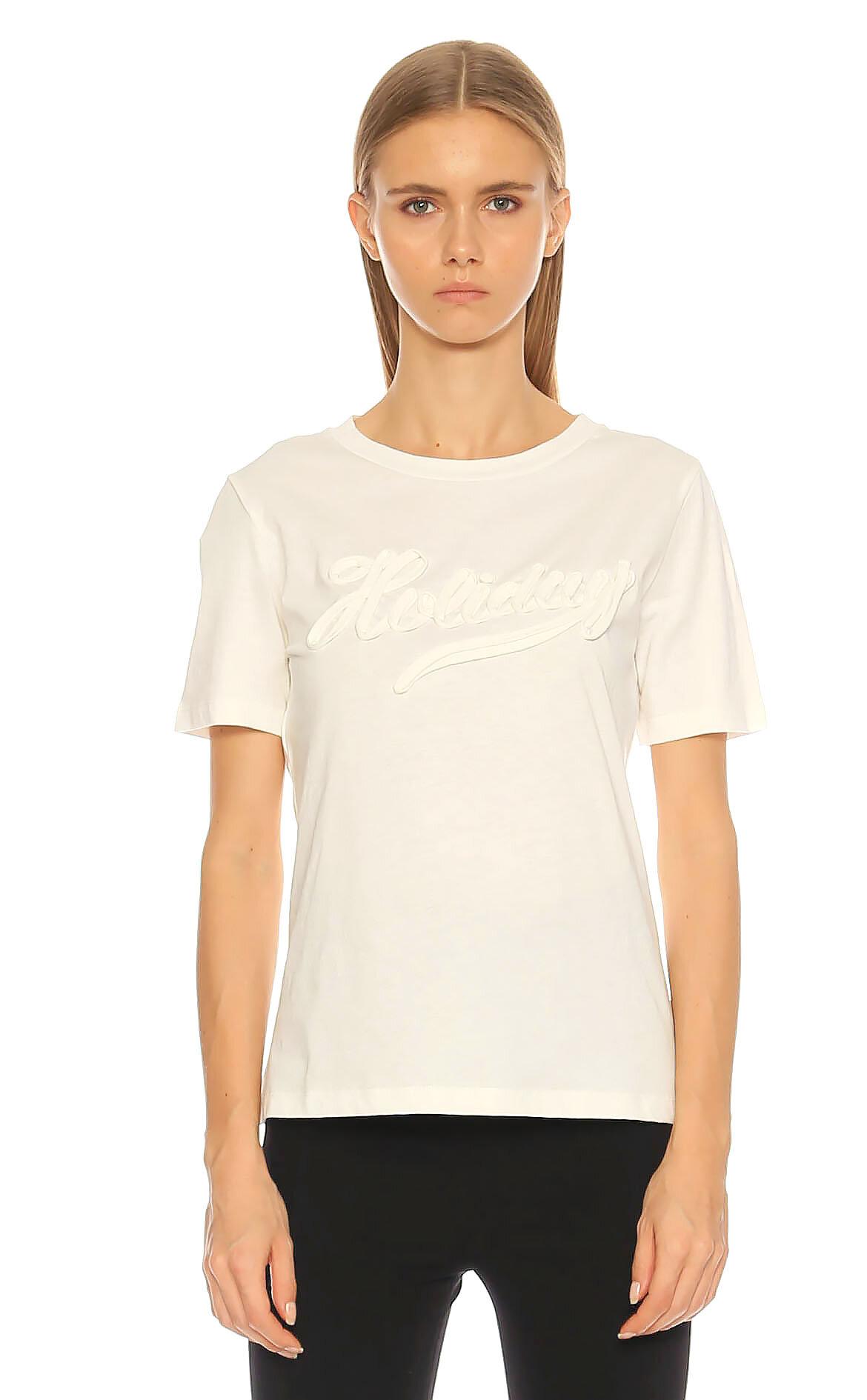 Boutique Kabartma Desenli Beyaz Moschino T-Shirt