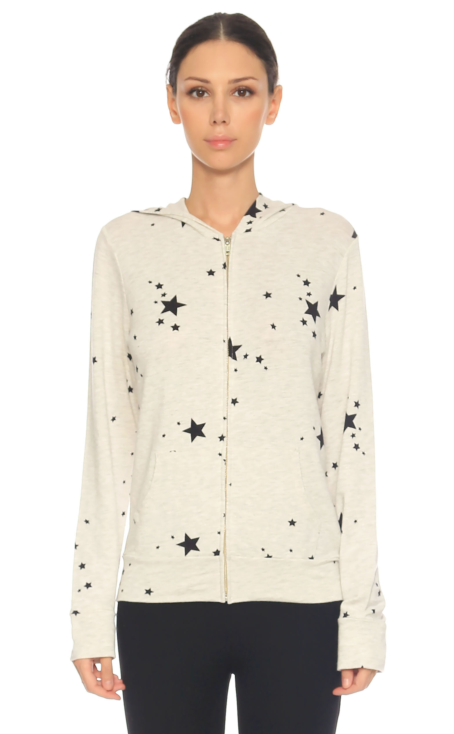 Monrow-Monrow Kapüşonlu Yıldız Baskılı Gri Sweatshirt