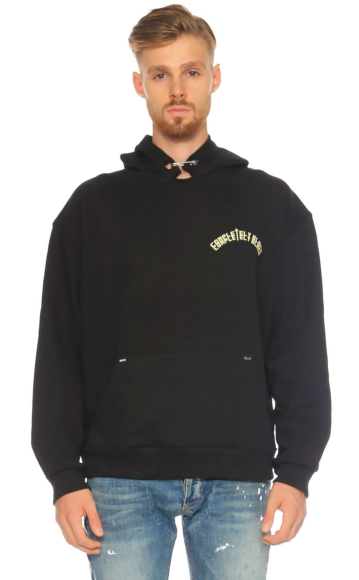 Mr Completely-Mr Completely Kapüşonlu Siyah Sweatshirt