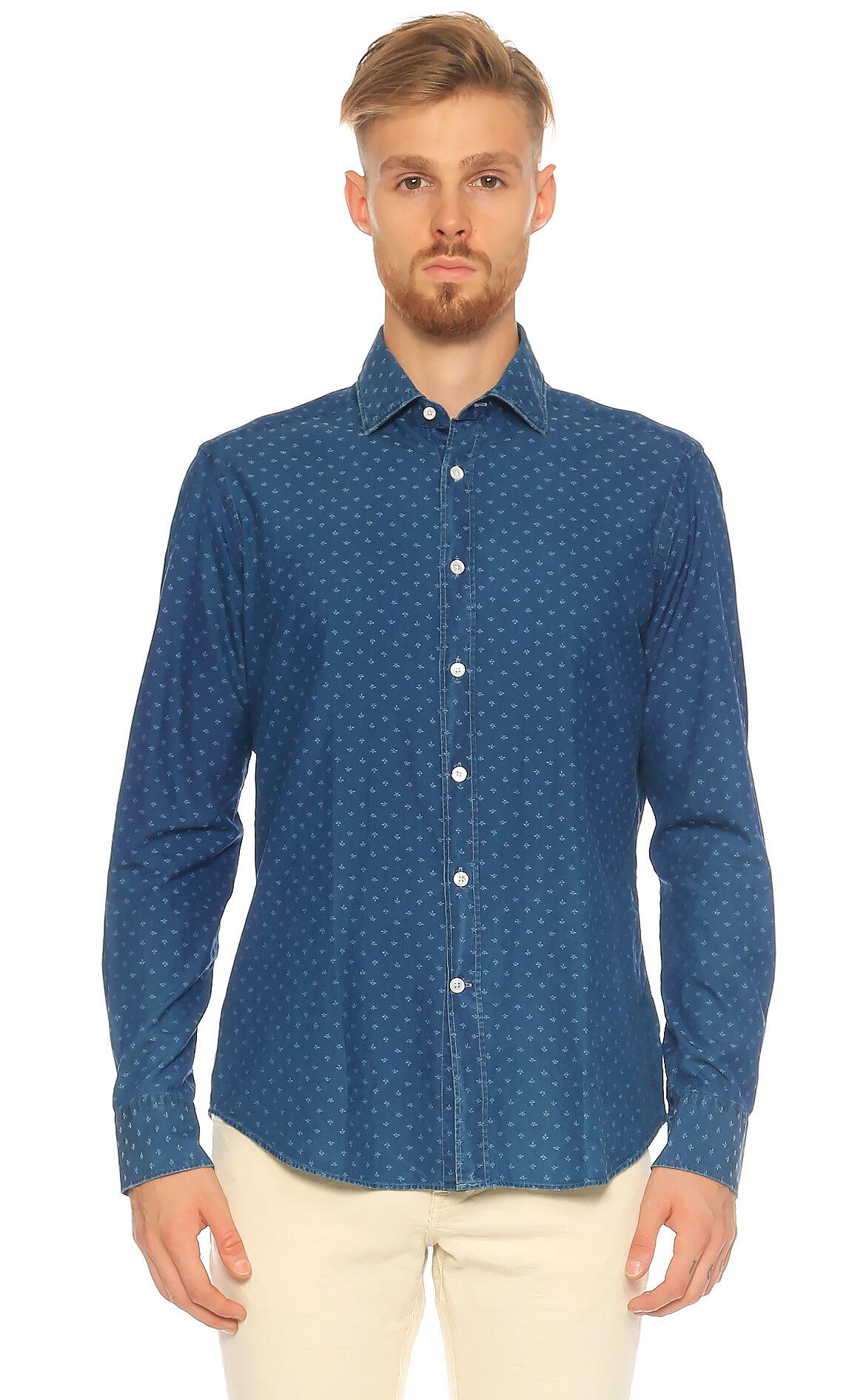 Bagutta-Bagutta Karma Desenli Mavi Gömlek