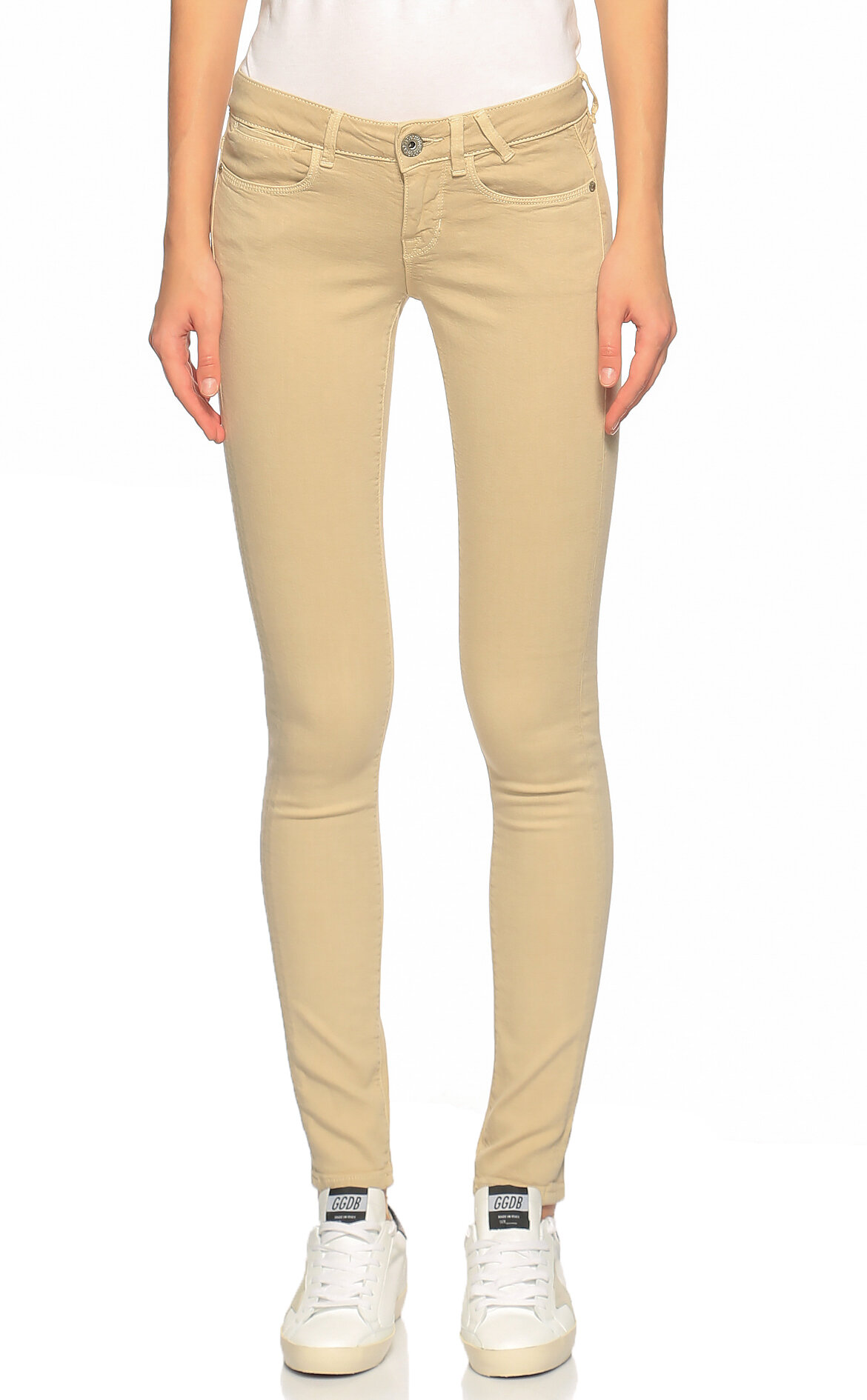 Guess-Guess Skinny Ekru Rengi Pantolon