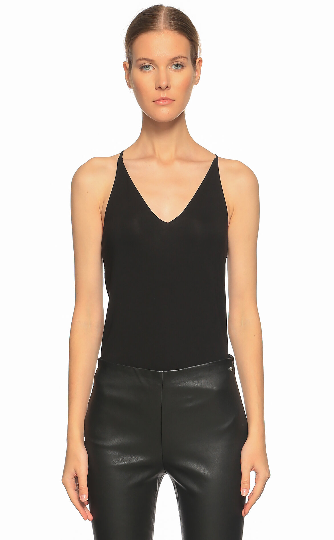 Karl Lagerfeld  Siyah Deri Pantolon