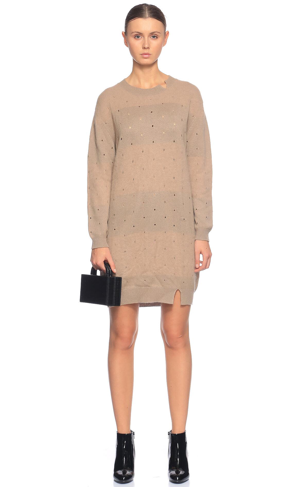 Agnona-Agnona Çizgili Mini Bej Rengi Elbise