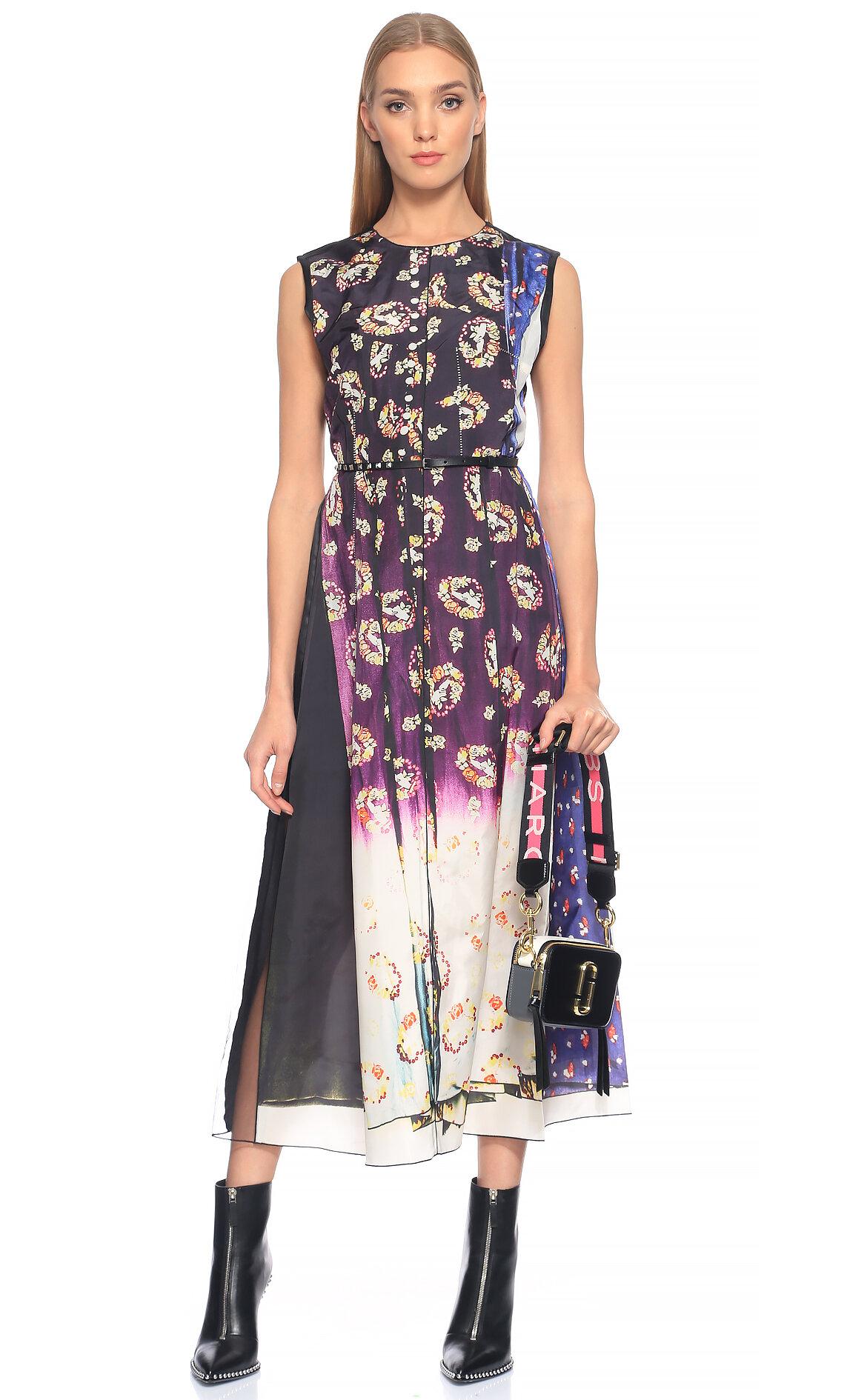 Marc Jacobs-Marc Jacobs Karma Desenli Uzun Elbise