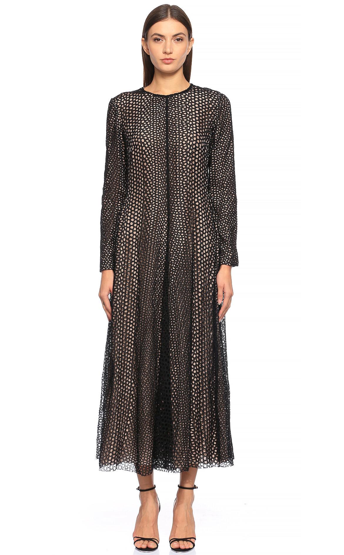 Lanvin-Lanvin File Detaylı Midi Siyah Elbise