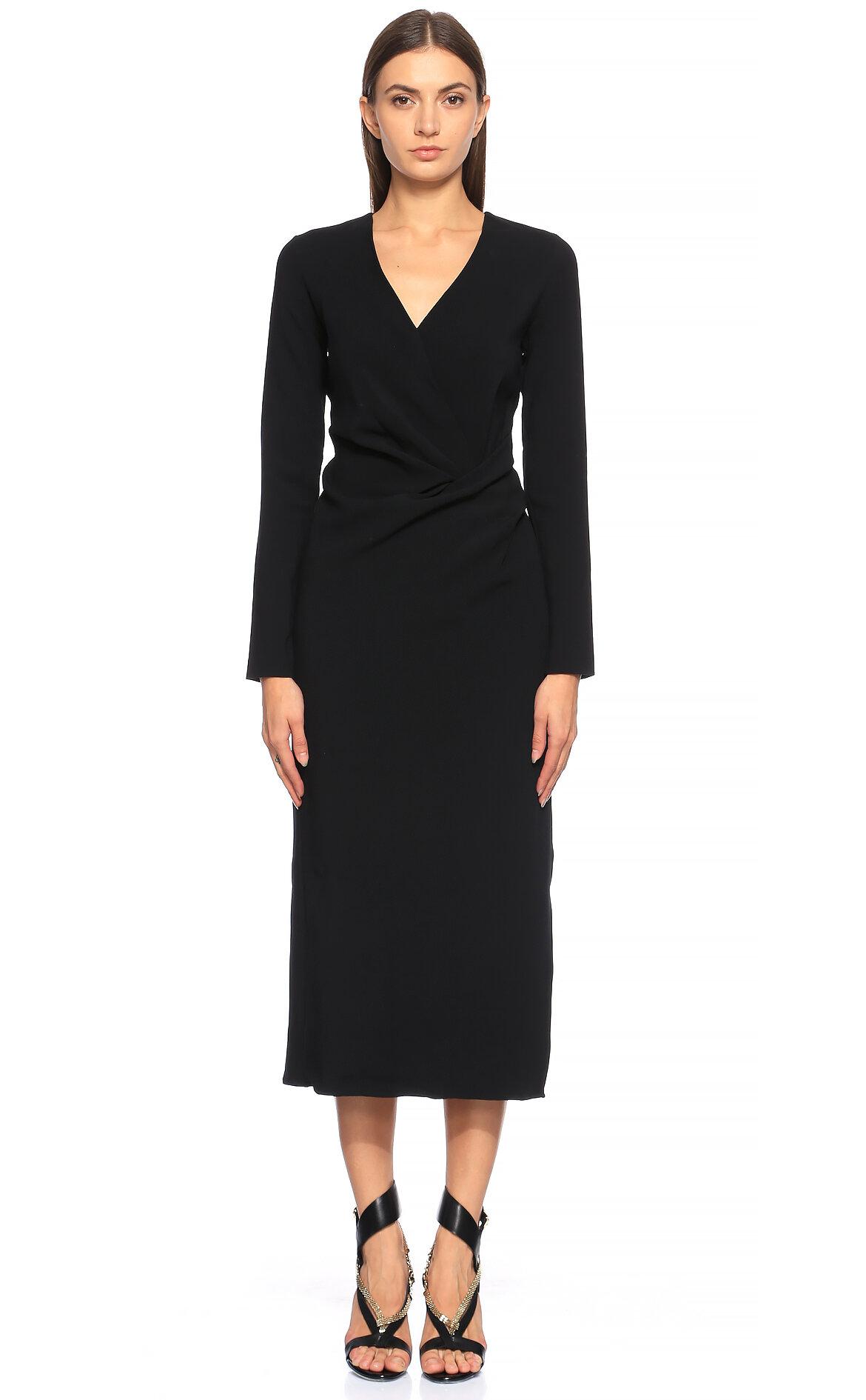 Lanvin-Lanvin V Yaka Midi Siyah Gece Elbisesi