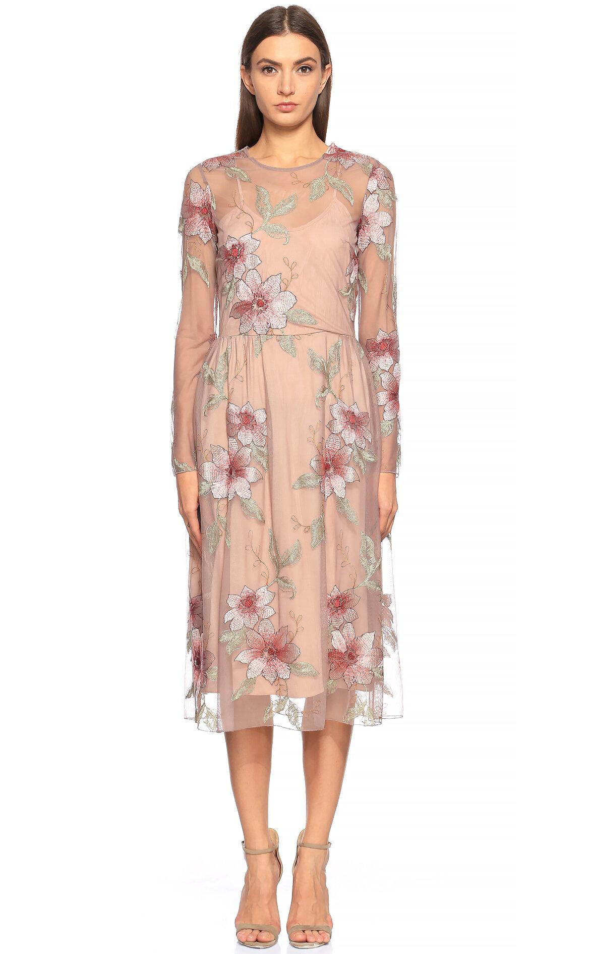 Silvian Heach  Çiçek İşlemeli Renkli Elbise