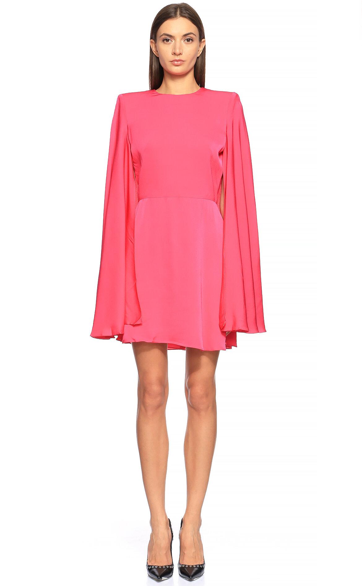 Alexander McQueen-Alexander McQueen Pelerin Detaylı Pembe Elbise