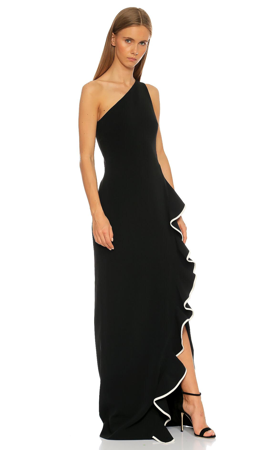 David Koma-David Koma Fırfır Detaylı Uzun Siyah Elbise