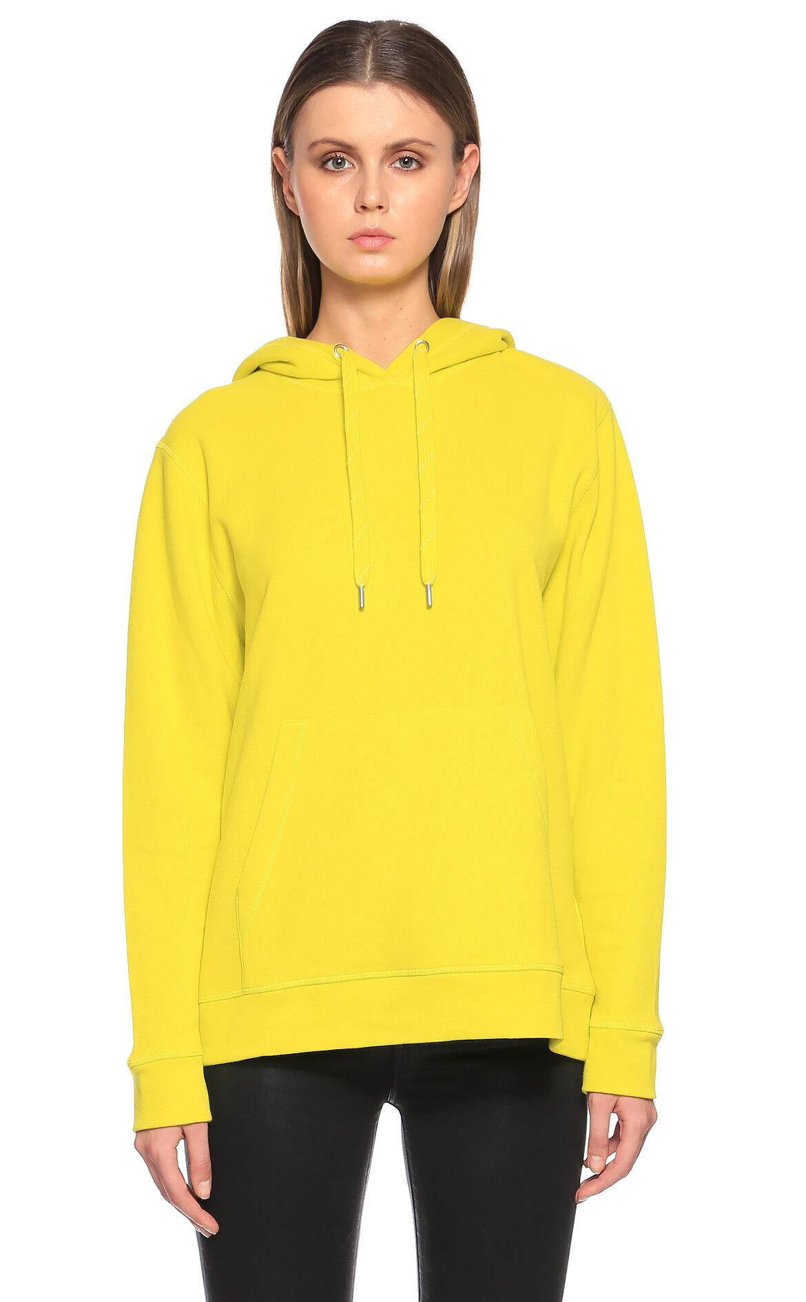 Samsoe&Samsoe-Samsoe&Samsoe Kapüşonlu Neon Sarı Sweatshirt