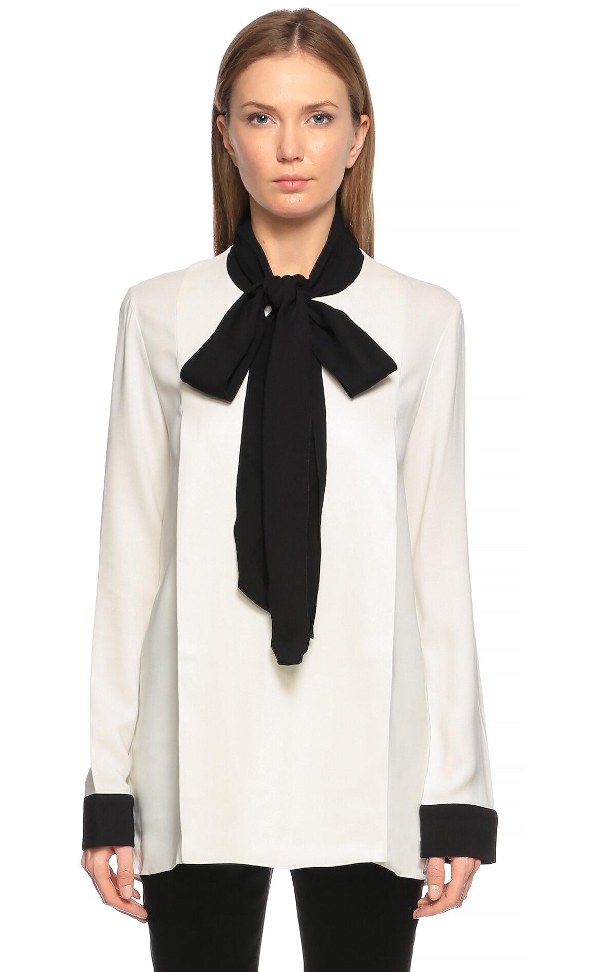 Lanvin  Şal Yaka Siyah-Beyaz Bluz