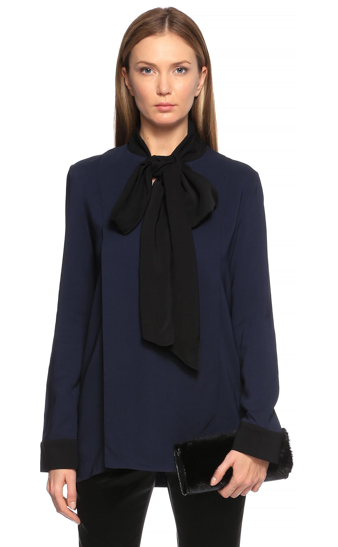 Lanvin-Lanvin Şal Yaka Lacivert-Siyah Bluz