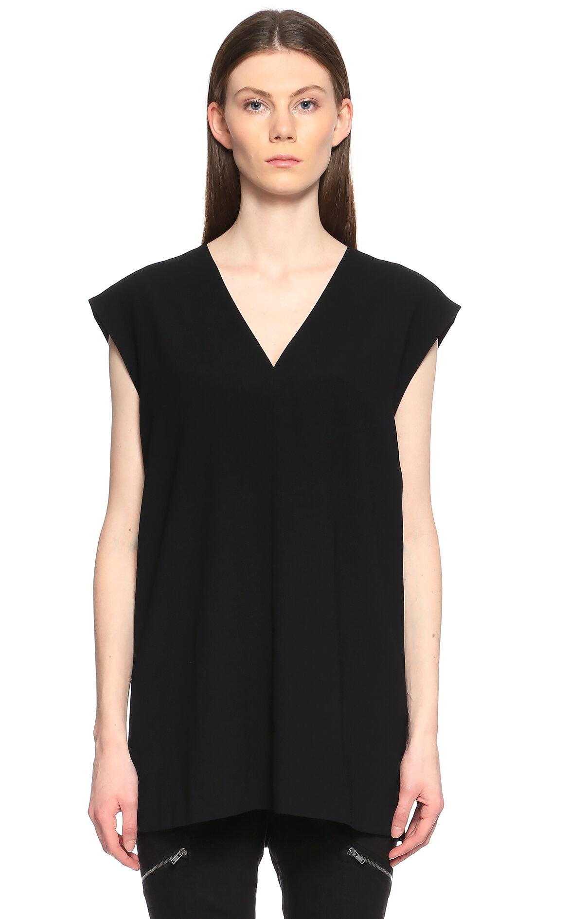 DKNY V Yaka Siyah Bluz