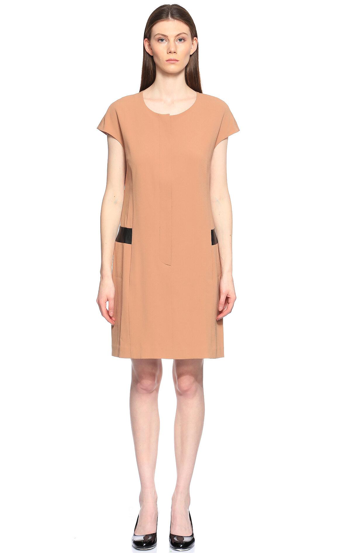 DKNY Önü Fermuarlı Bej Elbise