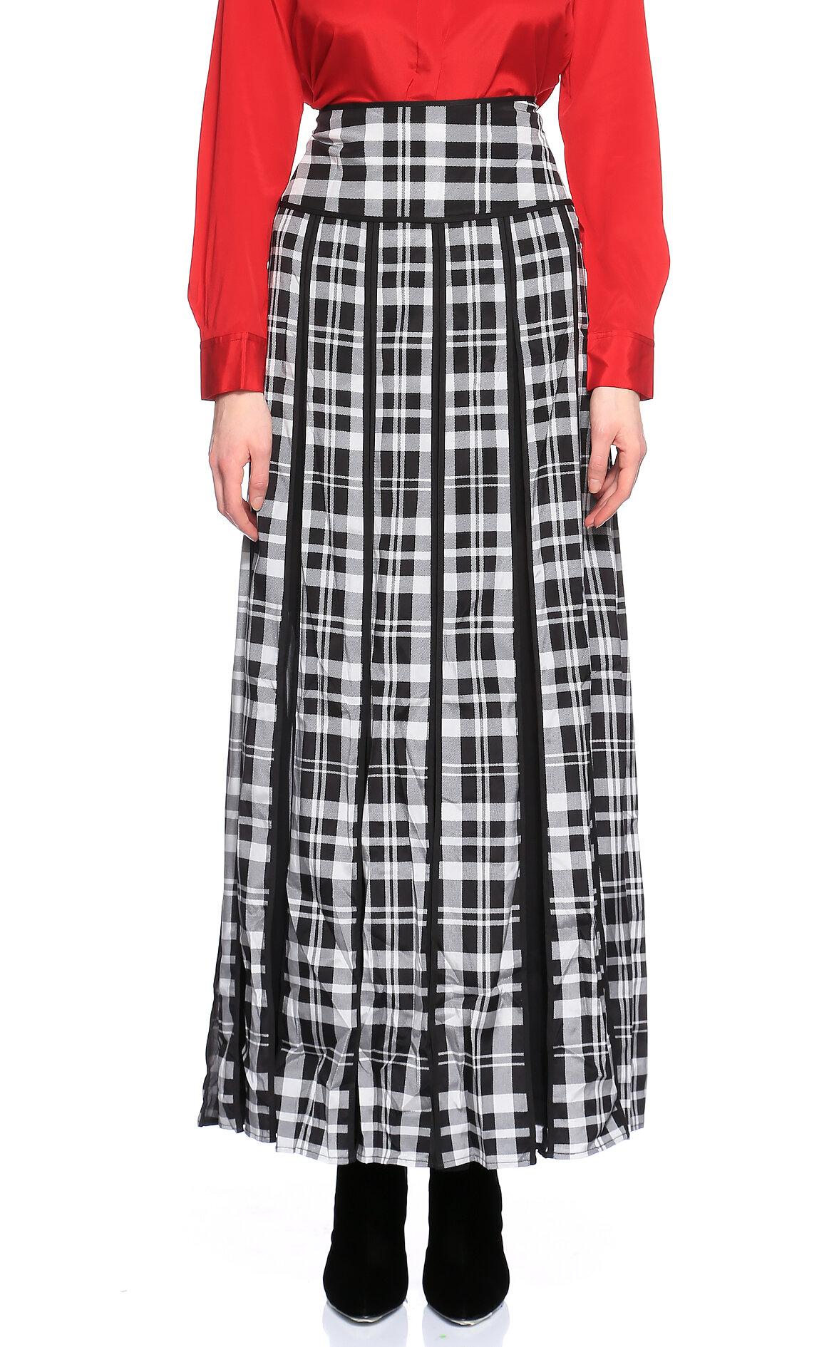 DKNY-DKNY Kareli Siyah-Beyaz Uzun Etek